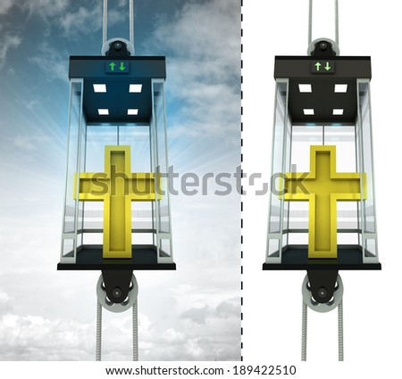 golden cross in sky elevator concept also isolated one illustration - stock photo