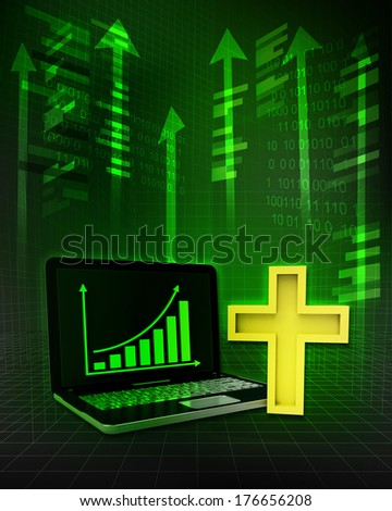 golden cross with positive online results in business illustration - stock photo
