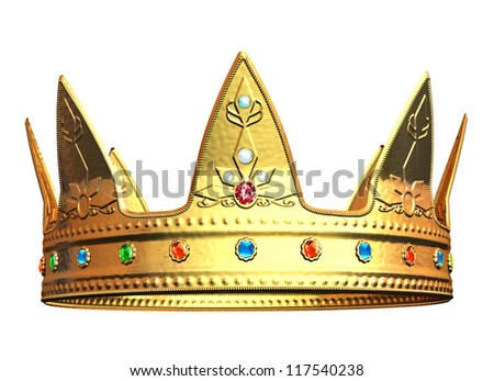 Golden Crown - isolated on white background - stock photo