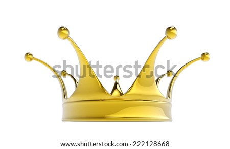 Golden crown isolated on white background. - stock photo
