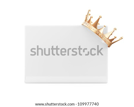 Golden Crown on Blank Board isolated on white background - stock photo