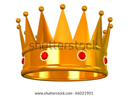 Golden crown on white