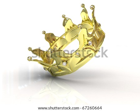 Golden crown on white background