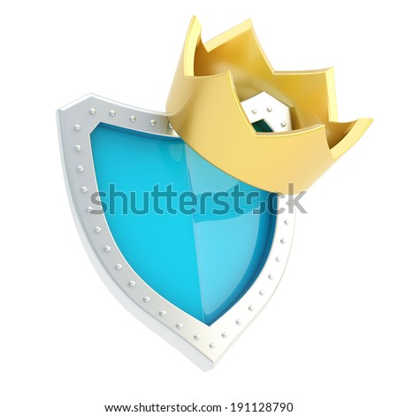 Golden crown over the blue and metal shield composition, isolated on white background - stock photo