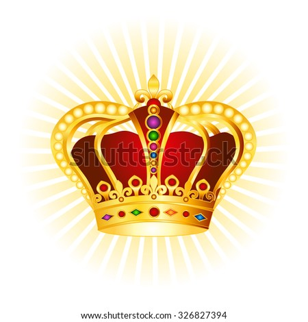 Golden crown with gems and pearls clipart on glowing background - stock photo