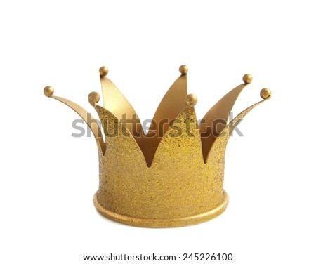 Golden crown with glitters isolated over white - stock photo