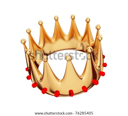 Golden crown with jewels isolated on white.3d rendered. - stock photo