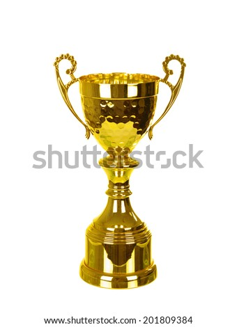 golden cup isolated on white