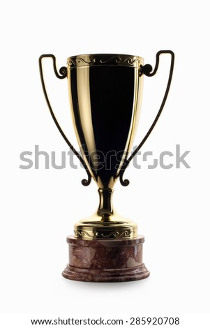 golden cup of the winner isolated on white background - stock photo