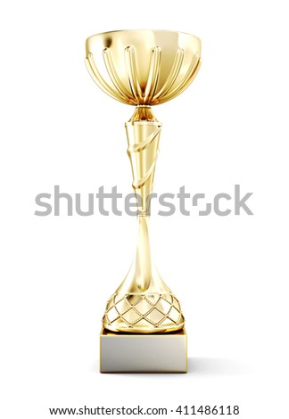 Golden cup on a pedestal isolated on white background. Front view. 3d rendering.