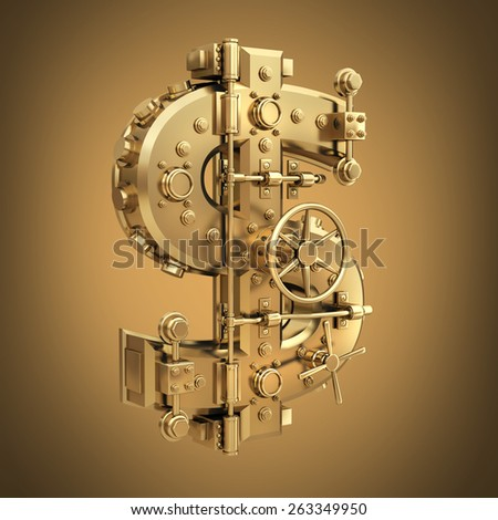Golden currency dollar symbol and banking safe. High resolution 3D  - stock photo