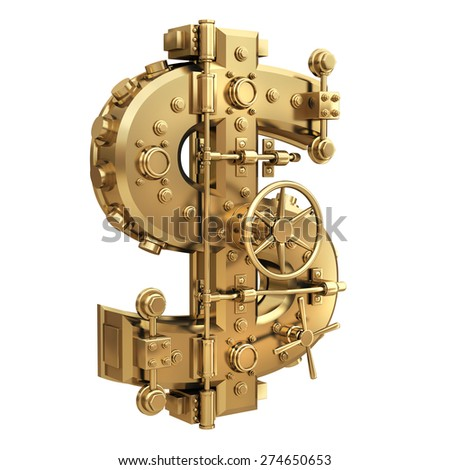 Golden currency dollar symbol and banking safe isolated on white background. High resolution 3d