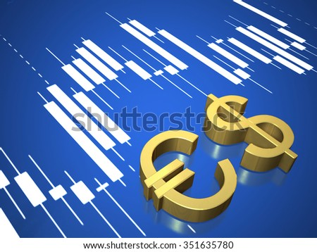 Golden currency symbols  on  surface of screen. - stock photo
