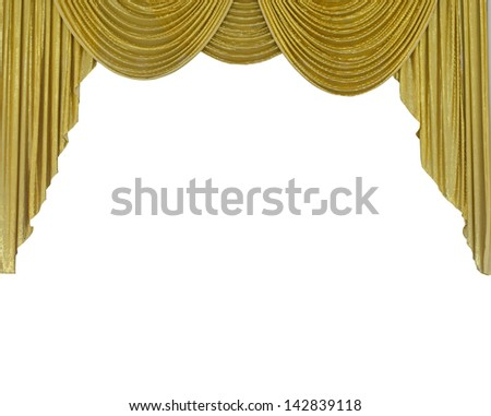 Golden curtain  isolated on white background - stock photo
