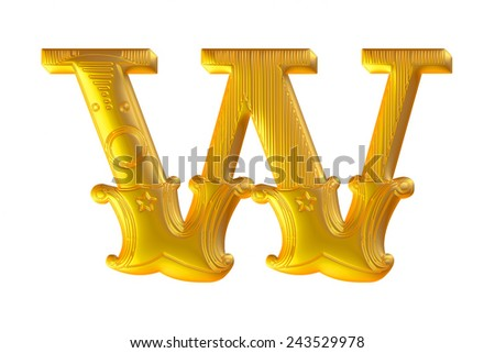 golden 3d alphabet W isolated on white  - stock photo