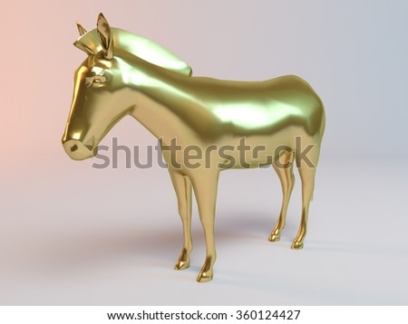 Golden 3D animal (horse) inside a stage with high render quality to be used as a logo, medal, symbol, shape, emblem, icon, business, geometric, label or any other use.
