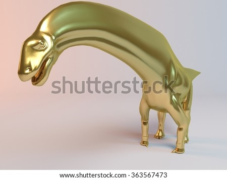 Golden 3D animal (titanosaurus) inside a stage with high render quality to be used as a logo, medal,   symbol, shape, emblem, icon, business, geometric, label or any other use