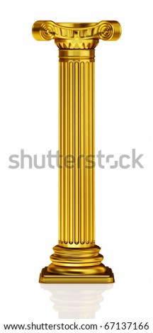Golden 3d column - stock photo