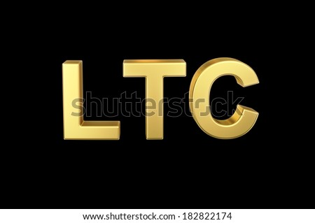 Golden 3D LTC currency shortcut isolated with clipping path - stock photo