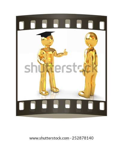 Golden 3D mans in a grad hat and a man on a white background. The film strip - stock photo