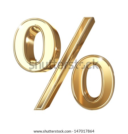 Golden 3D percentage symbol with clipping path isolated on white background - stock photo