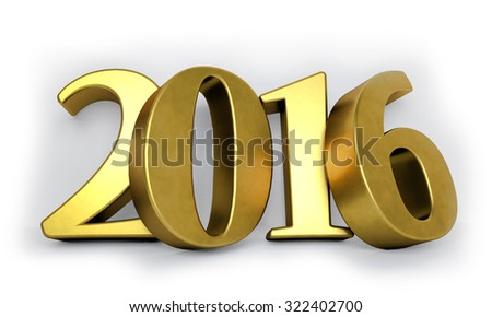 Golden 3D 2015 year figures leaned to the wall with shadows. - stock photo