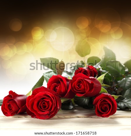 golden decoration of roses  - stock photo