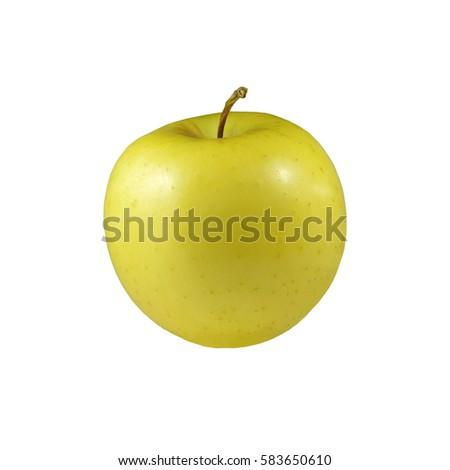 Golden delicious apple. One yellow golden apple isolated on white background.