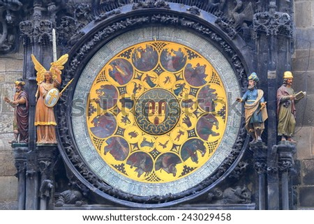 Golden dial of the Astronomical Clock in Prague Old Town, Czech Republic - stock photo