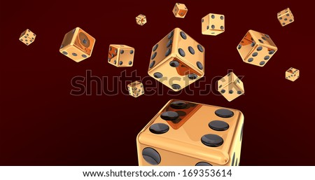 Golden Dice on Dark Red Background 3D Illustration (with clipping path) - stock photo