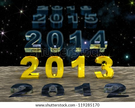 Golden digits of 2013 New Year are in the row of years 2012, 2014 (and so on) which are passing one by one in starry space and vanishing in the sand of time. - stock photo