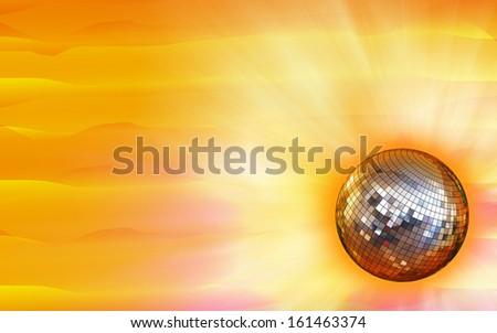 Golden disco mirror ball - stock photo