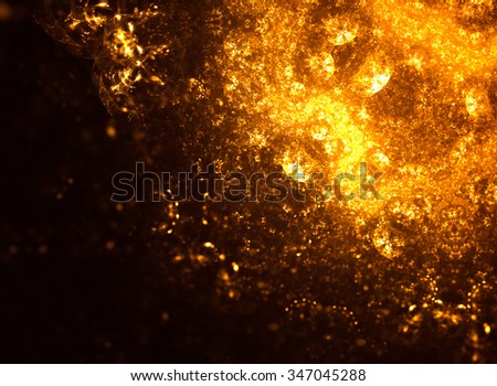 Golden distinctive pattern on a dark background. Luxury spectacular backdrop. Texture consists of passages of shimmering colors. Stylish, festive and joyous mood of the composition.
