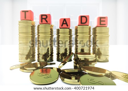 Golden dollar coin bars with trade dice on top. 3D Rendering - stock photo