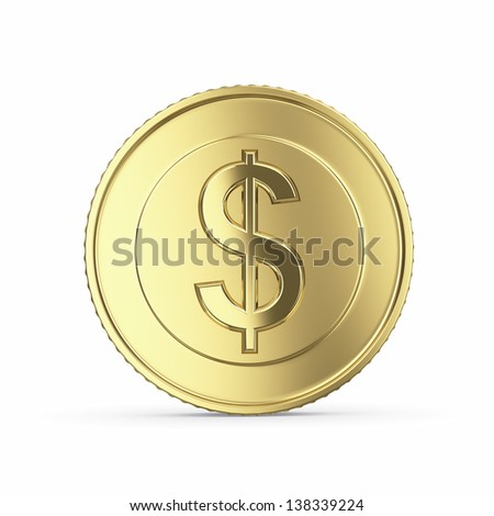 Golden dollar coin isolated on white background with clipping path