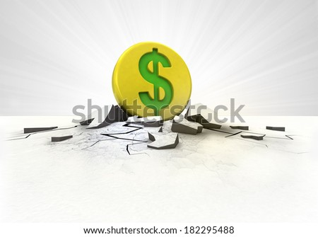golden Dollar coin strike into ground with flare concept illustration - stock photo