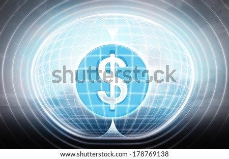 golden Dollar coin stuck in energy capsule as science project illustration - stock photo