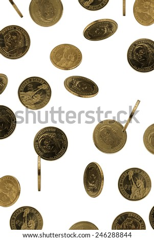 Golden dollar coin with a portrait of George Washington on a white background - stock photo