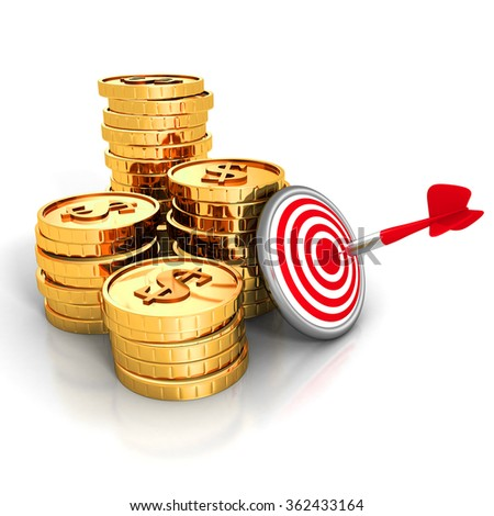 Golden Dollar Coins With Darts Target and Arrow. 3d Render Illustration - stock photo