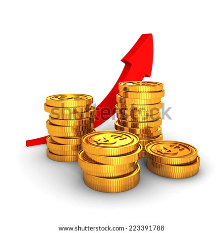 golden dollar coins with growing arrow on white background. business success finance profit concept. 3d render. - stock photo