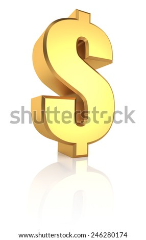 Golden dollar currency symbol isolated on white background. 3d render - stock photo