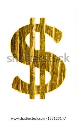 Golden dollar of wood on white isolated