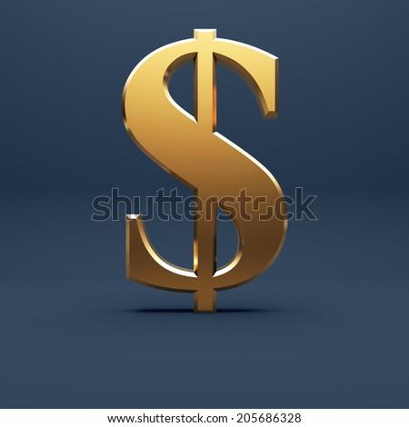 Golden dollar sign at dark blue background - stock photo