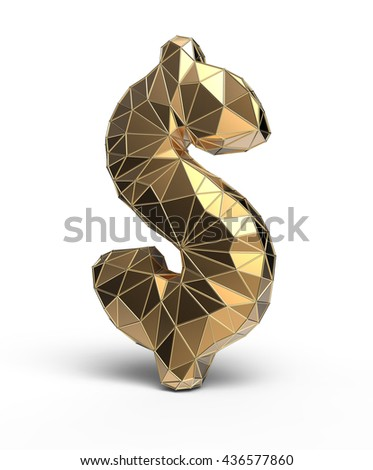 golden dollar sign, 3d illustration