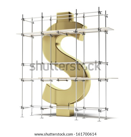 golden dollar sign with scaffold - stock photo