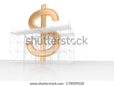 golden dollar sign with scaffold and ladders - stock photo