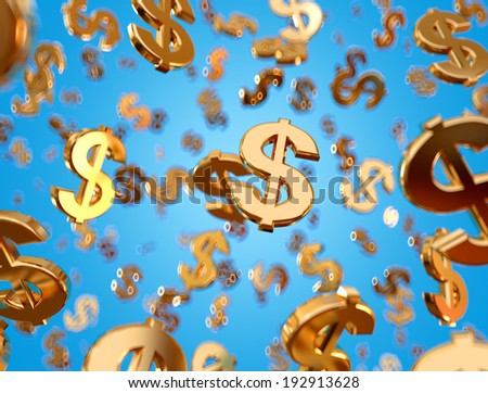 Golden dollar signs falling on the blue background. - stock photo