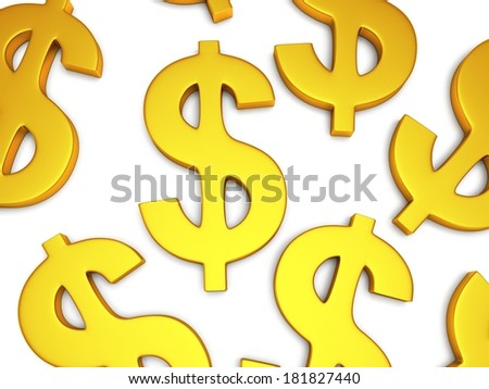 Golden dollar signs on white. 3d render isolated on white background. Money, rich, business concept