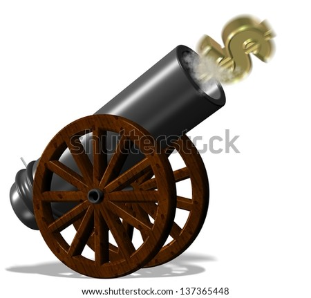 Golden dollar symbol fired from black vintage cannon / Flying dollar from cannon - stock photo