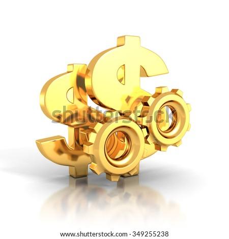 golden dollar symbols and cogwheel gears on white background. 3d render illustration - stock photo